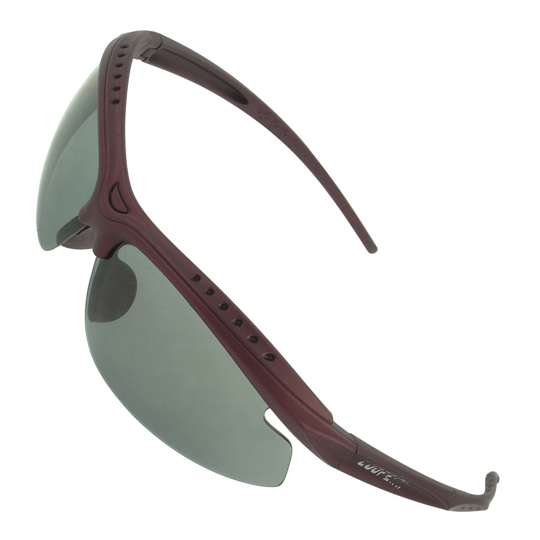 Plastic Half Frame Gray Colored Lens Sunglasses Burgundy for Woman