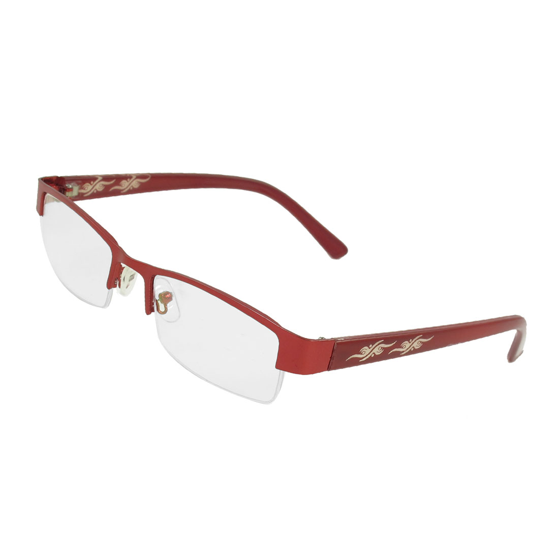 Lady Burgundy Plastic Half Rim Single Bridge Plain Glasses
