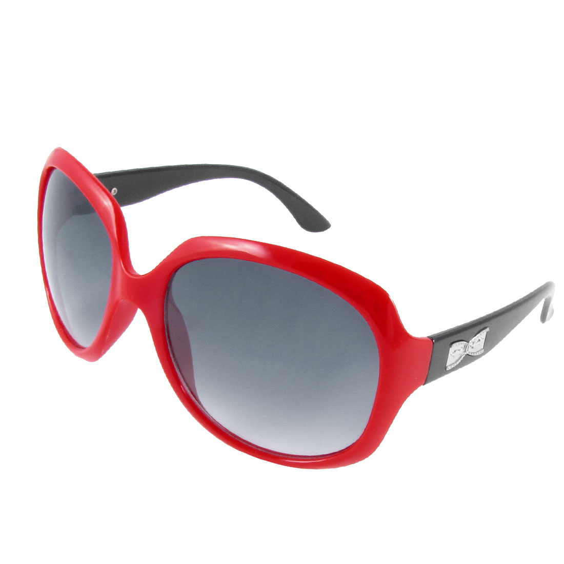 Red Plastic Full Frame Round Balck Lens Single Bridge Sunglasses for Women