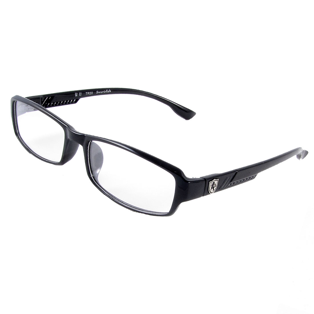 Man Black Full Rim Frame Single Bridge Clear Lens Glasses Spectacles