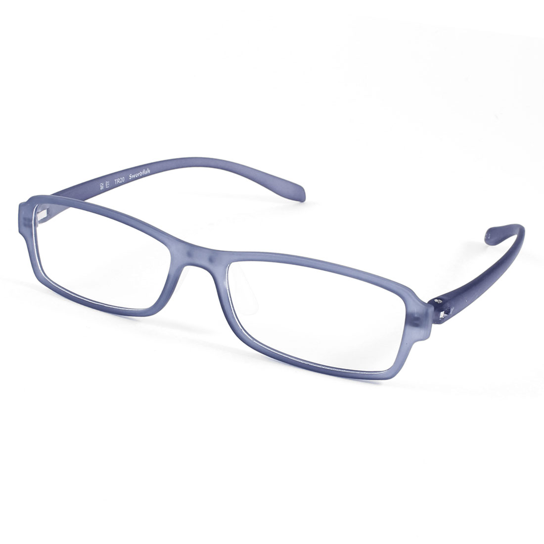 Steel Blue Plastic Arms Full Rim Frame Single Bridge Clear Lens Glasses for Man