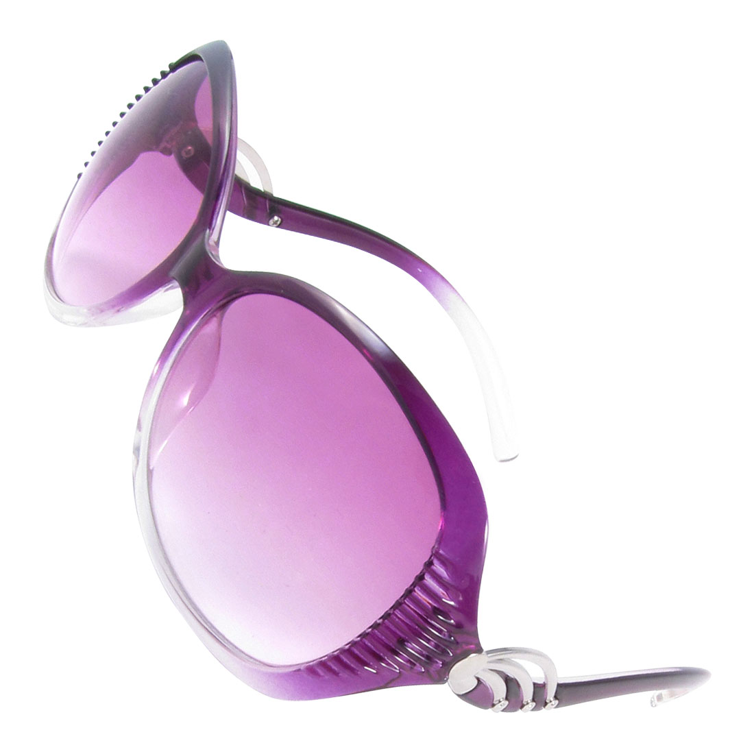 Women Lady Outside Clear Purple Lens One Bridge Full Rim Frame Sunglasses