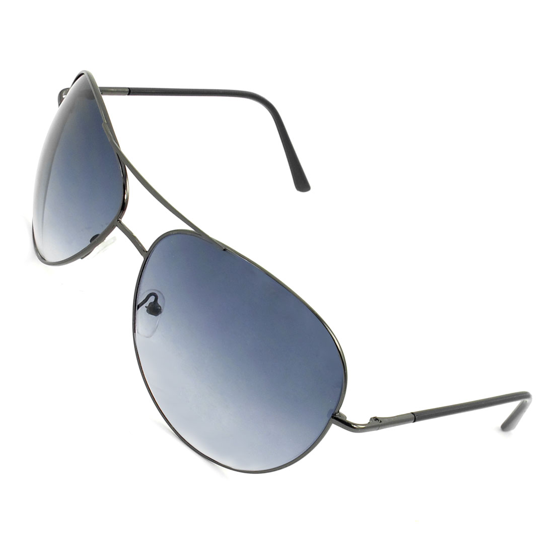 Unisex Black Metal Full Rim Gray Teardrop Lens Dual Bridge Sunglasses