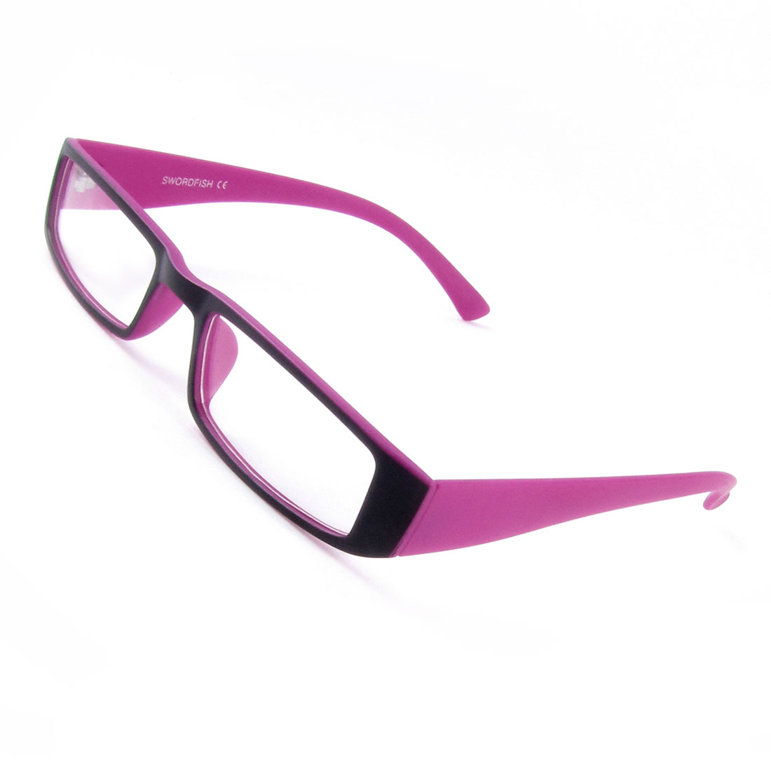 Ladies Women Rectangle Shaped Clear Lens Single Bridge Plano Plain Glasses