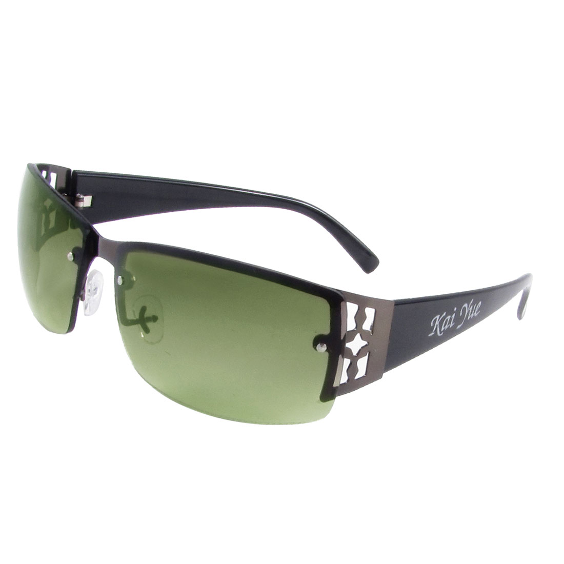 Traveling Camping Plastic Arms Rectangle Clear Green Lens Sunglasses for Lady