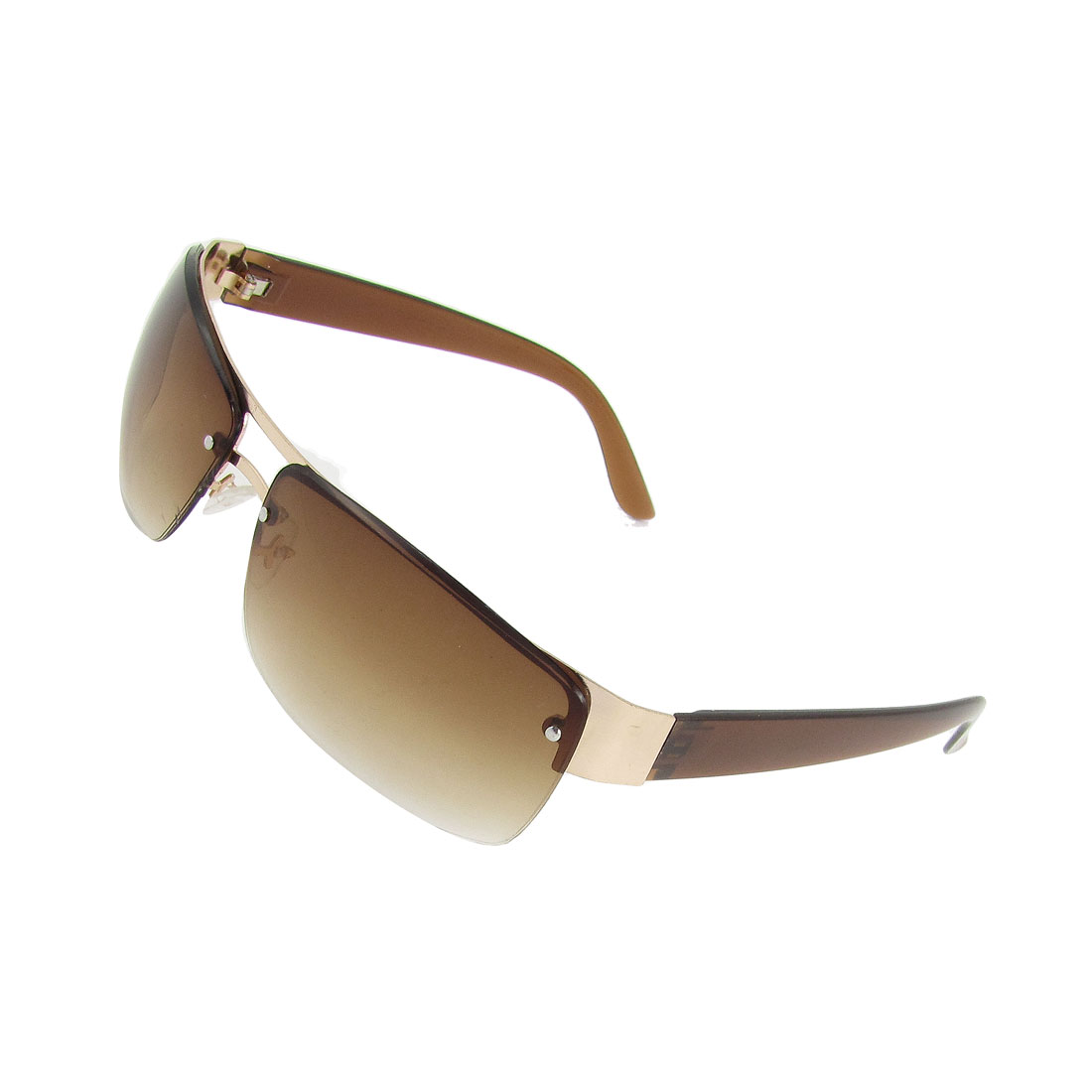 Lady Beach Plastic Arms Metal Half Frame Clear Brown Lens Glasses Sunglasses