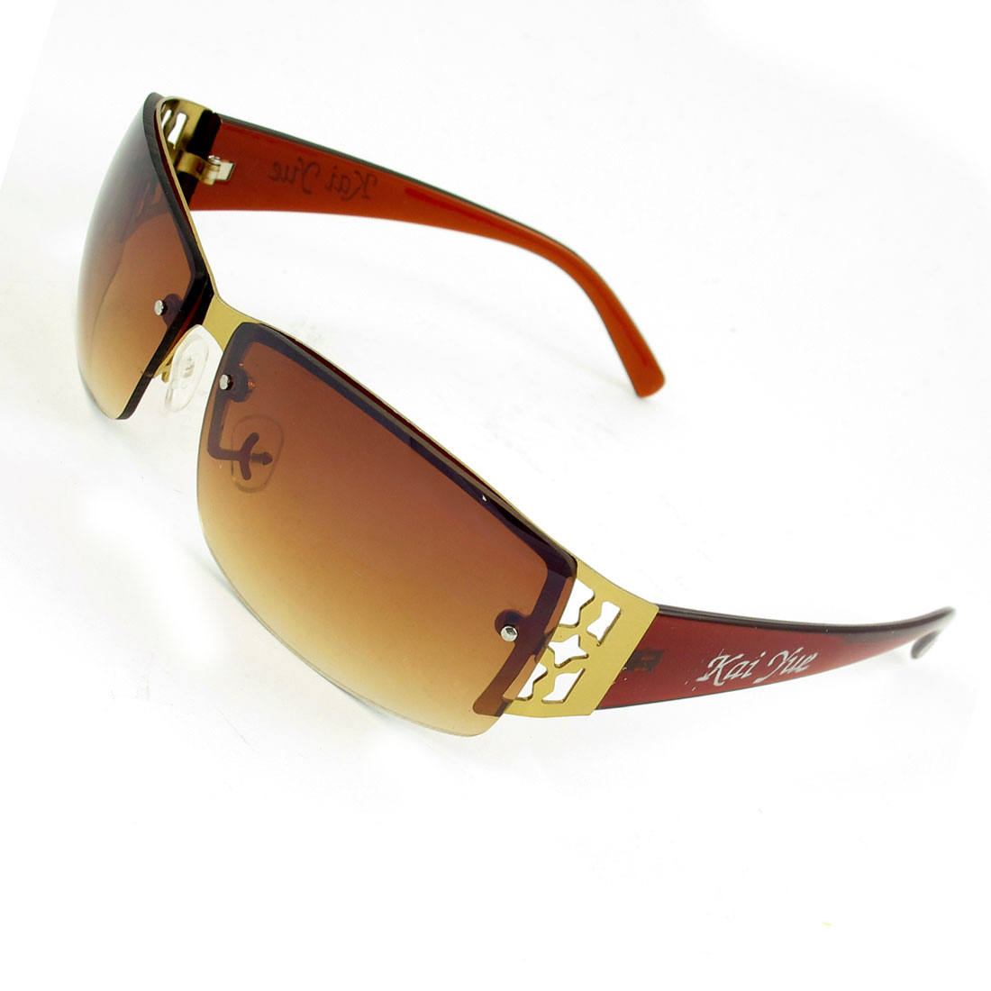 Lady No Rims Burgundy Plastic Arms Colored Lens Sunglasses
