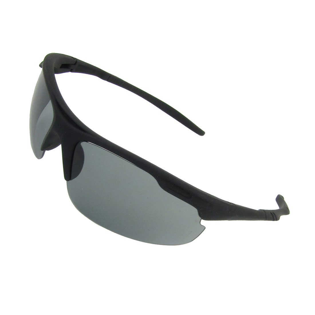 Black Plastic Arms Half Frame Rectangle Shaped Lens Outdoor Sunglasses for Men