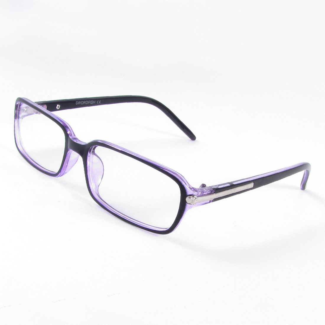 Plastic Single Bridge Clear Lens Plano Plain Glasses Purple for Lady Woman