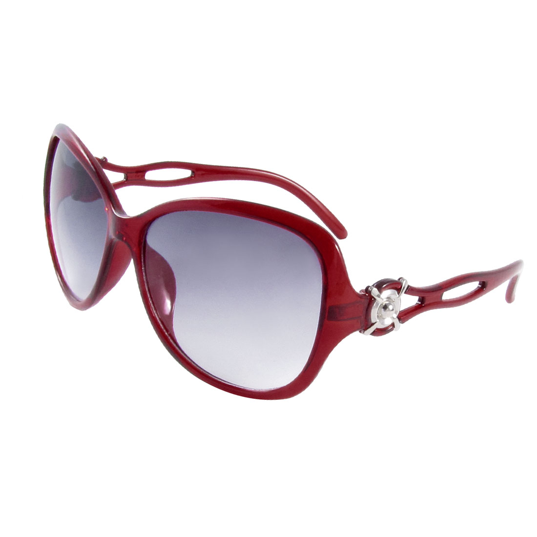 Outside Round Colored Lens Full Frame Sunglasses Clear Carmine for Ladies