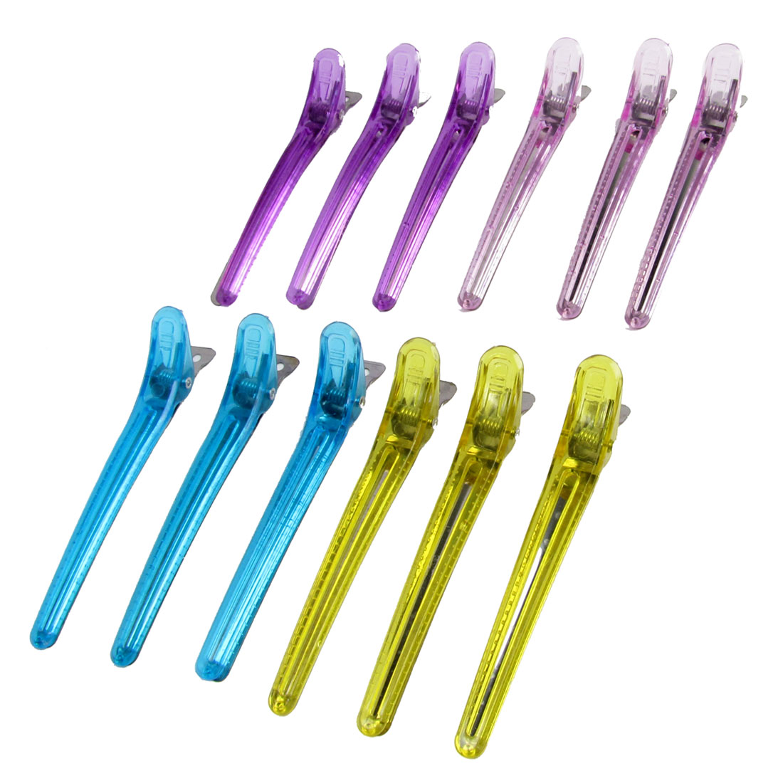 12 Pcs Assorted Colors Plastic Single Prong Hairclip Hair Clips Pin Barrette