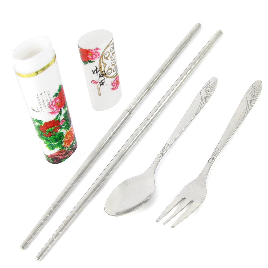 Travel Peony Pattern Case Stainless Steel Fork Soup Spoon Chopsticks Set 3 in 1