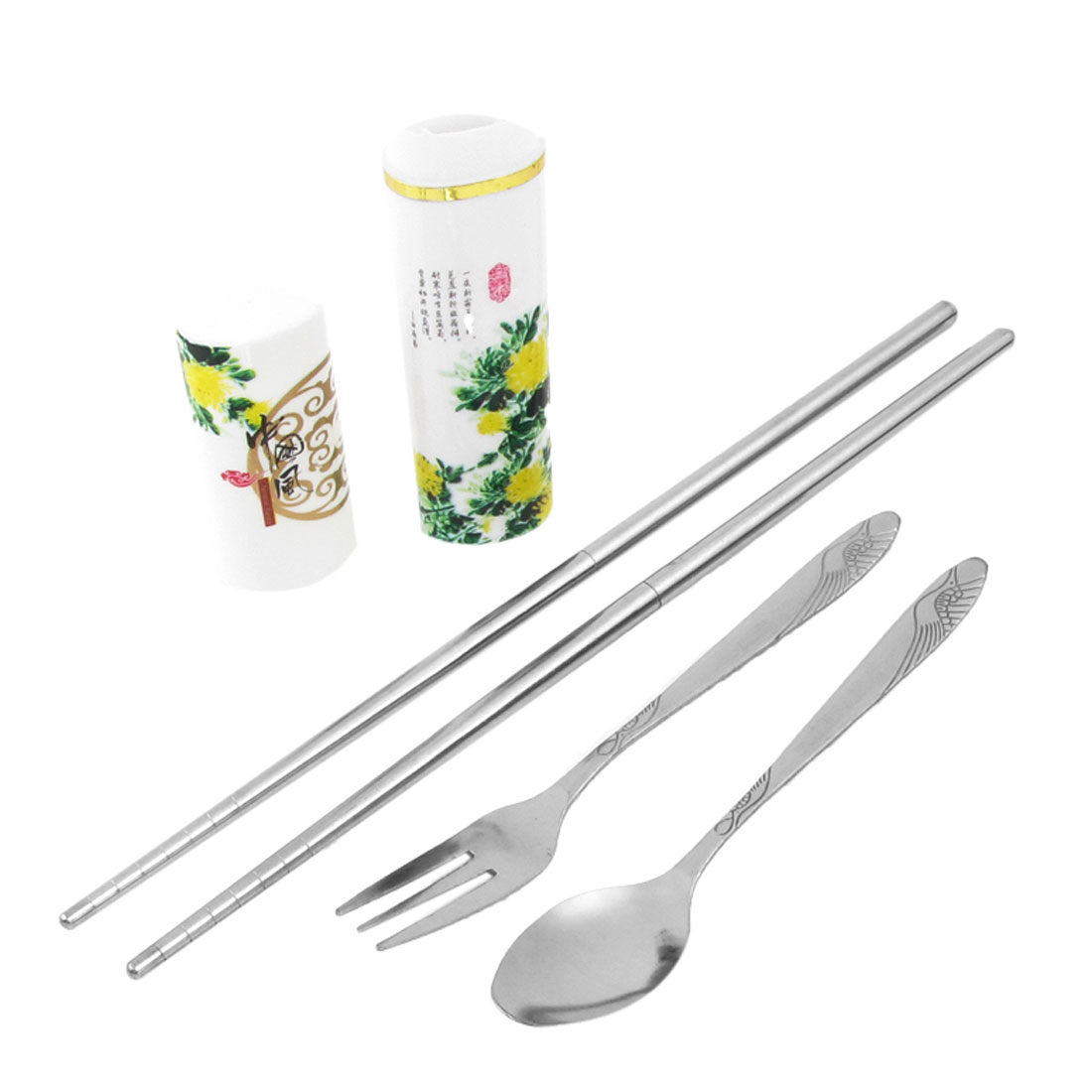 Chrysanthemum Print Case Tableware Fork Porridge Rice Chopsticks Spoon Set