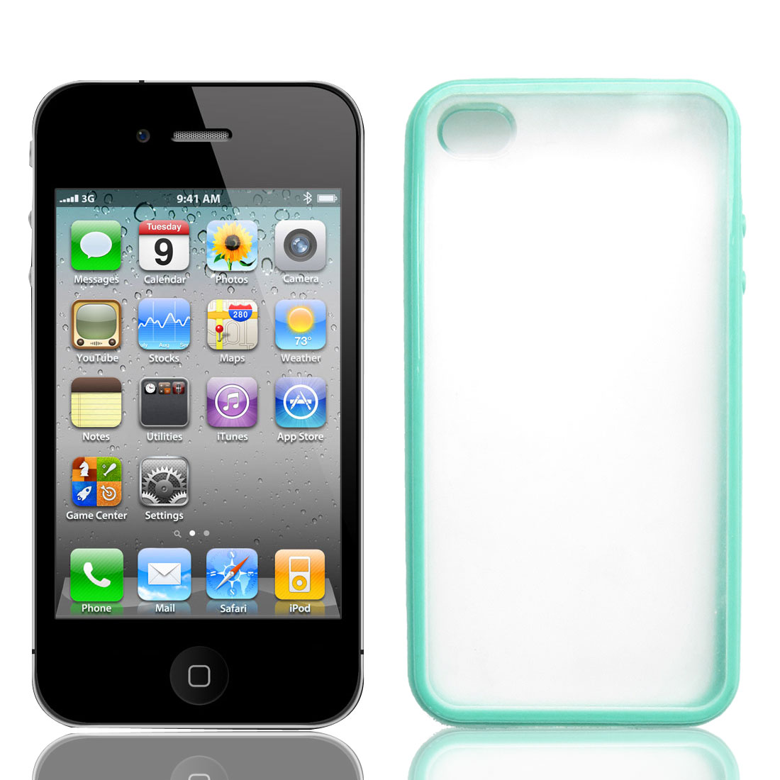 Teal Blue Anti Scratches Damage Plastic Phone Case for Apple iPhone 4 4G 4S
