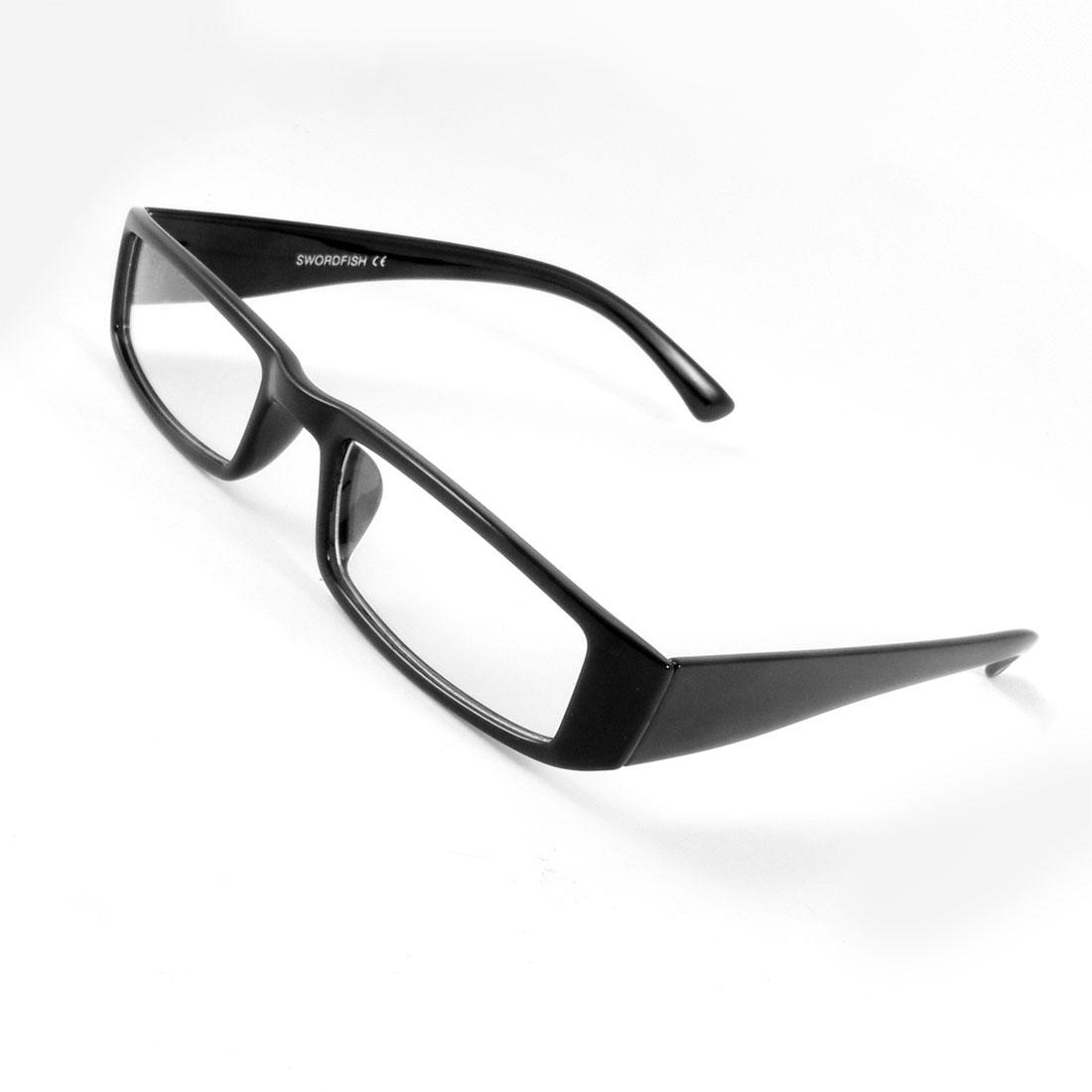 Man Black Full Rim Frame Rectangle Shaped Lens Plano Plain Glasses