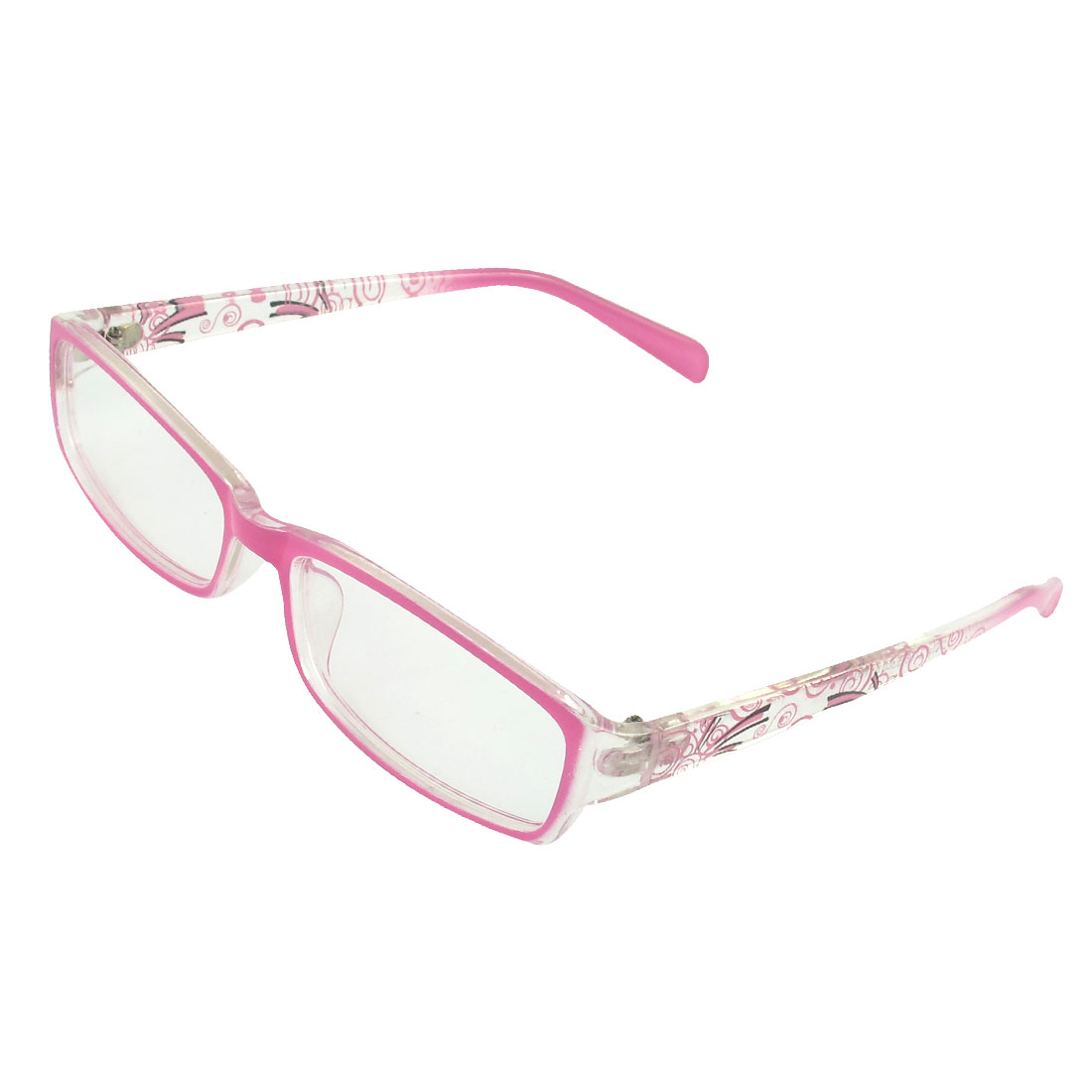 Plastic Full Rim Rectangular Lens Plain Glasses Pink for Women