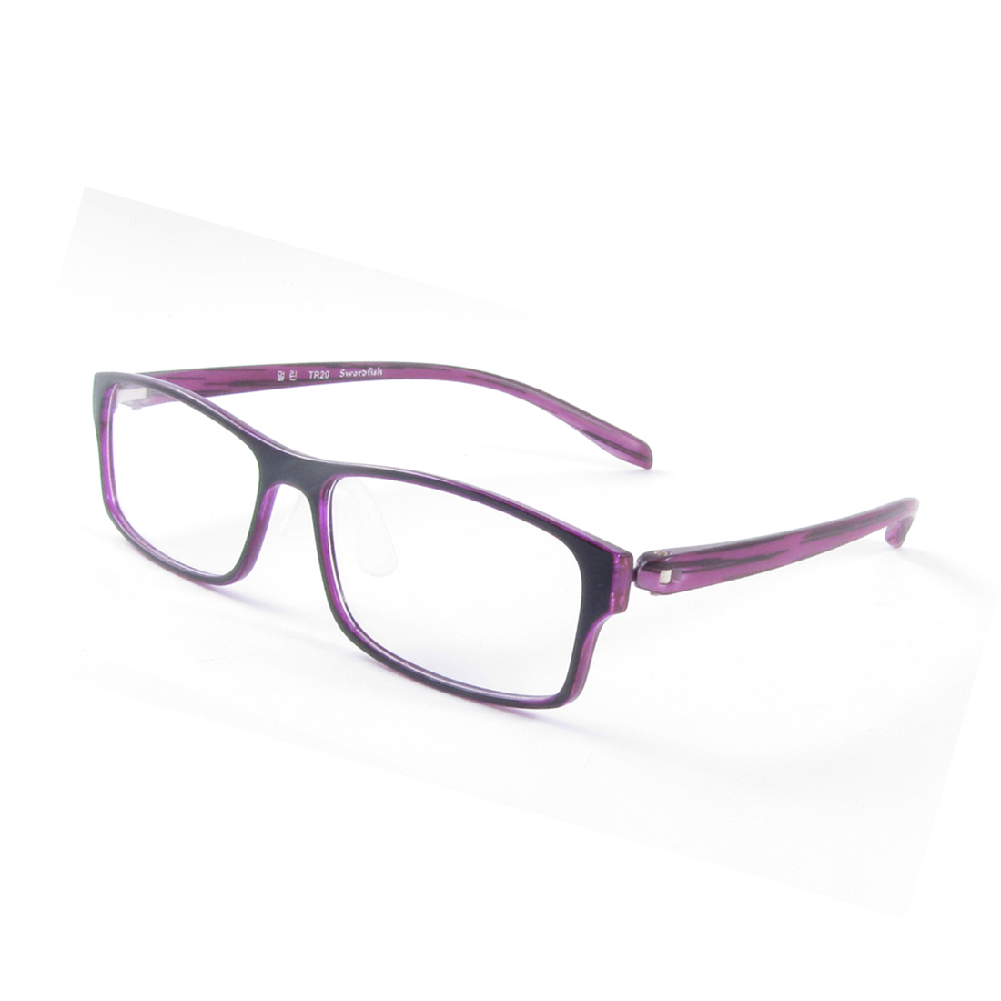 Women Black Full Frame Single Bridge Rectangle Shaped Lens Plano Glasses