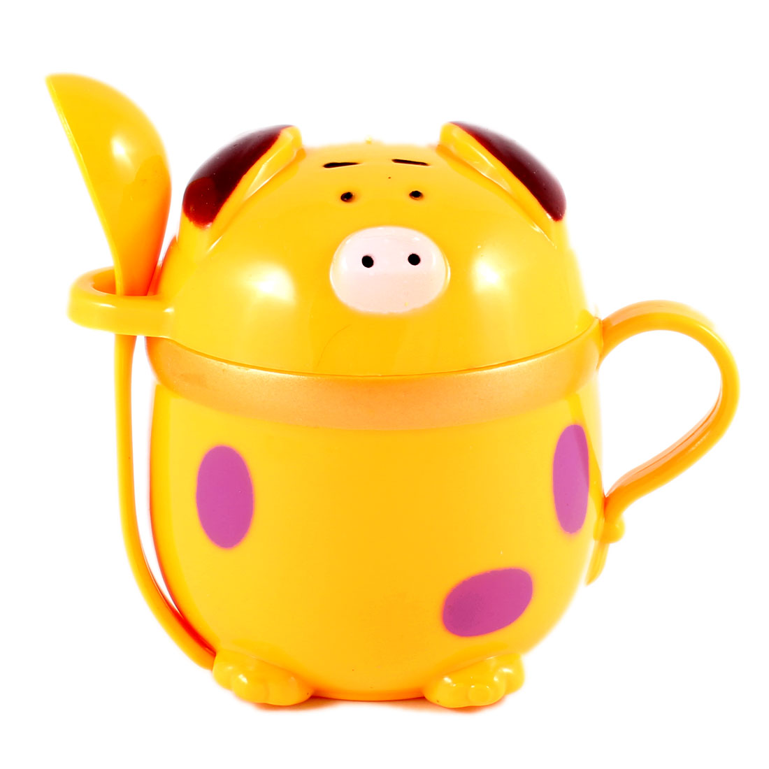 Kids Children Cartoon Pig Type Drink Cup Water Mug 220ml Dark Yellow w Spoon