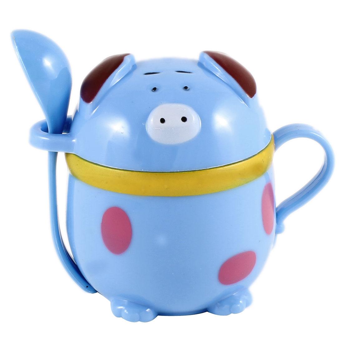 220ml Maya Blue Cartoon Piggy Design Plastic Drink Tea Coffee Cup w A Spoon