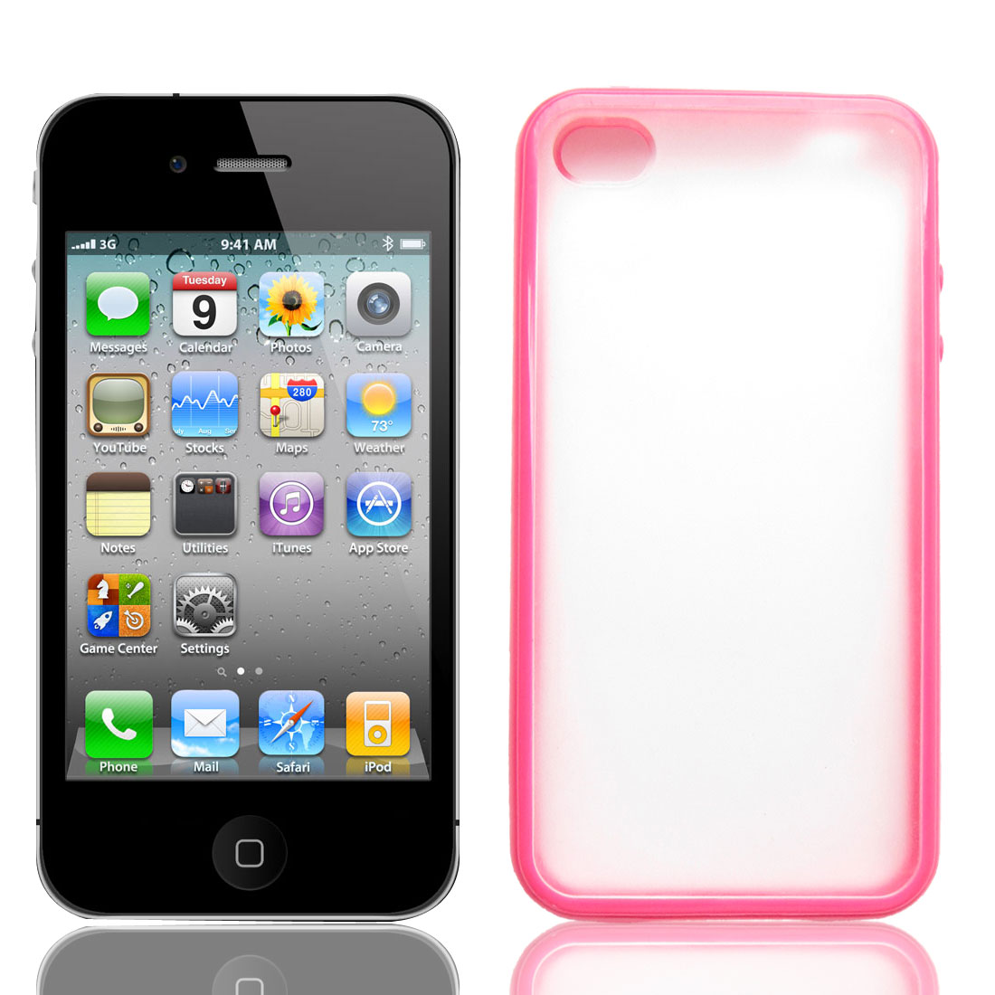 Magenta Clear Protective Plastic Case Cover for Apple iPhone 4 4G 4S