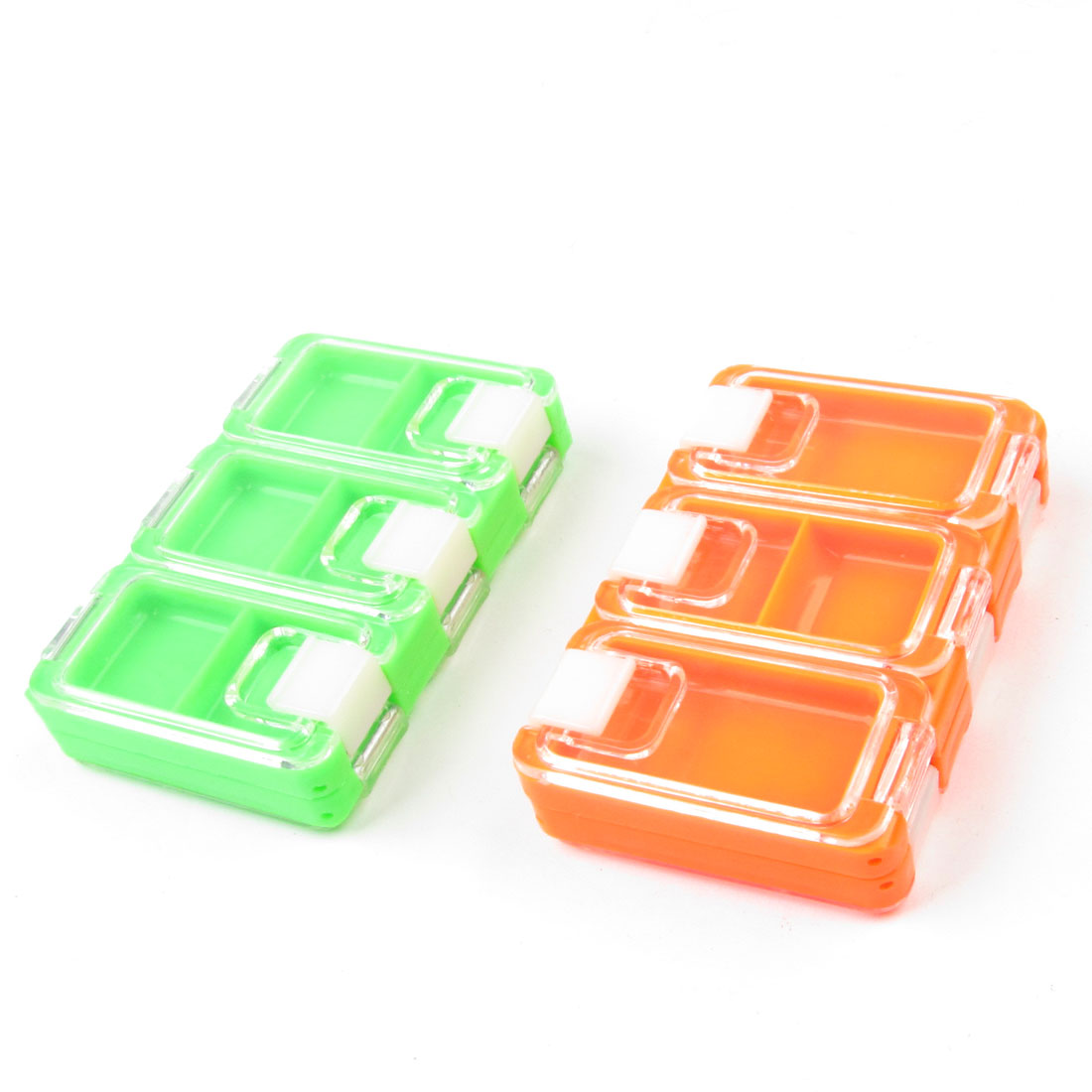 2 Pcs Orangered Green 10 Compartments Lure Hook Fishing Tackle Box