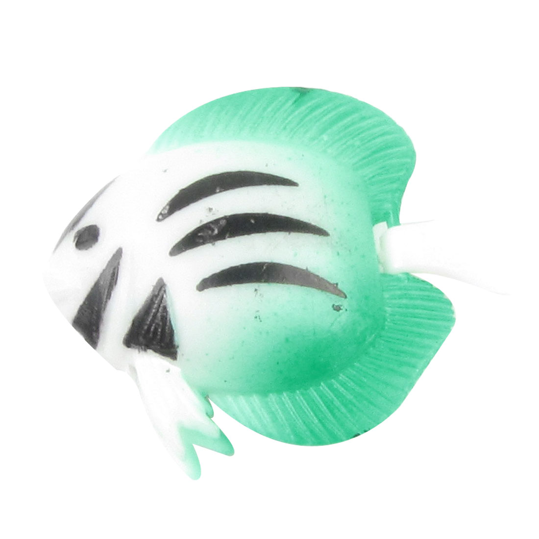 Artificial Seagreen White Black Stripes Plastic Movable Tail Fish for Aquarium