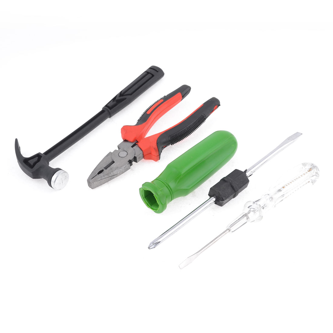Green Plastic Handle 2 in 1 Slotted Phillips Screwdrivers w Pliers