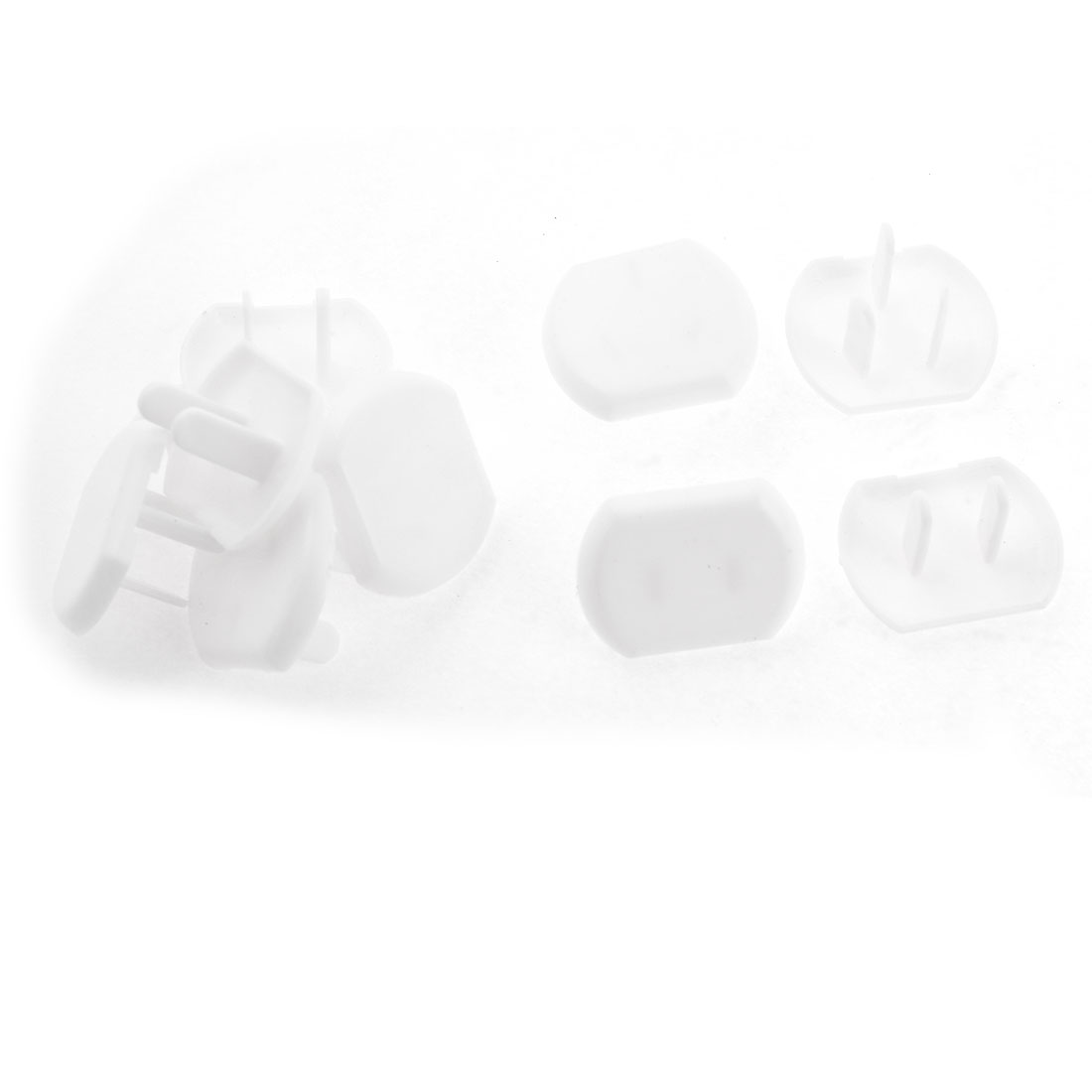 10 Pcs White Oval Plastic US 3P 2 Terminals Plug Protecting Socket Cover