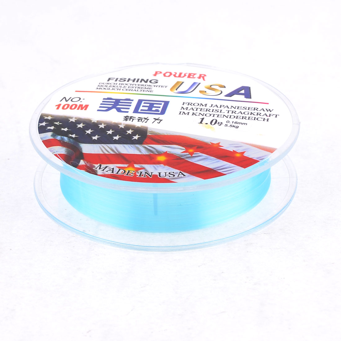 Blue 1# Nylon Thread 0.16mm Dia 5.5Kg 100 Meter Fishing Line Spool