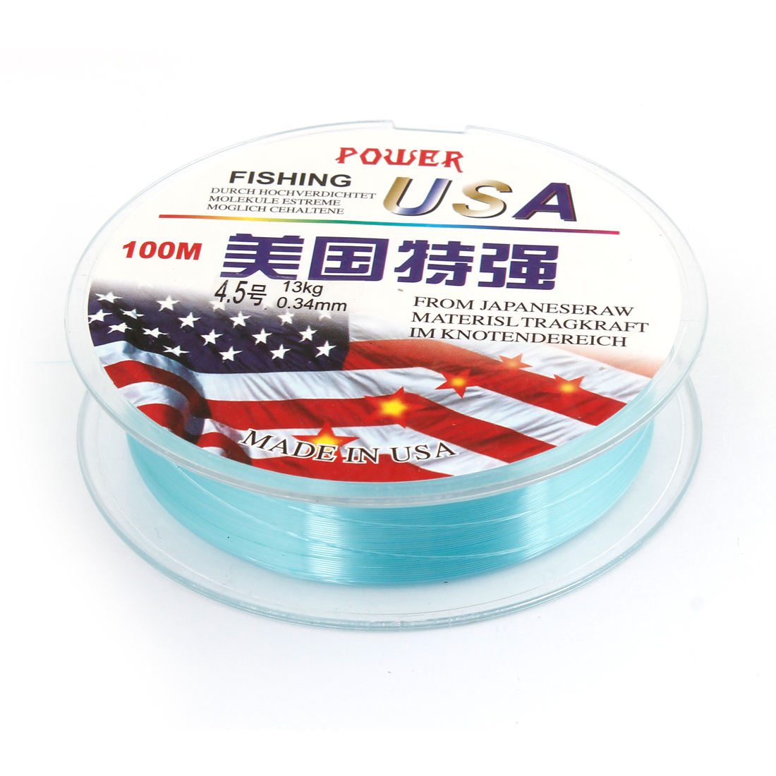 328 Ft Blue 0.34mm Dia 28.6 Lb Freshwater Fishing Line Spool 4.5#