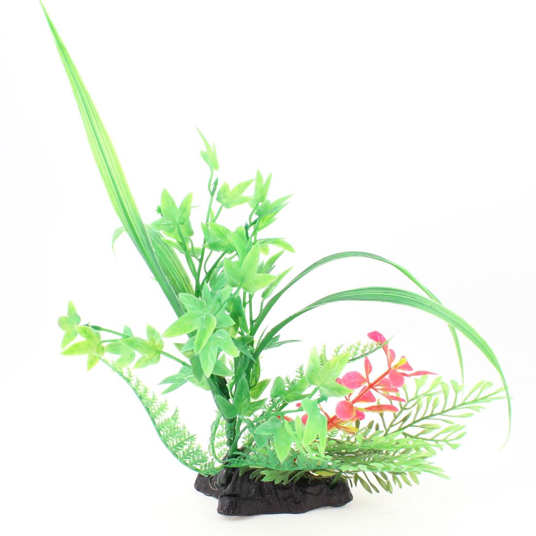 "10"" Height Green Fish Tank Decor Ceramic Base Manmade Aquatic Plant"