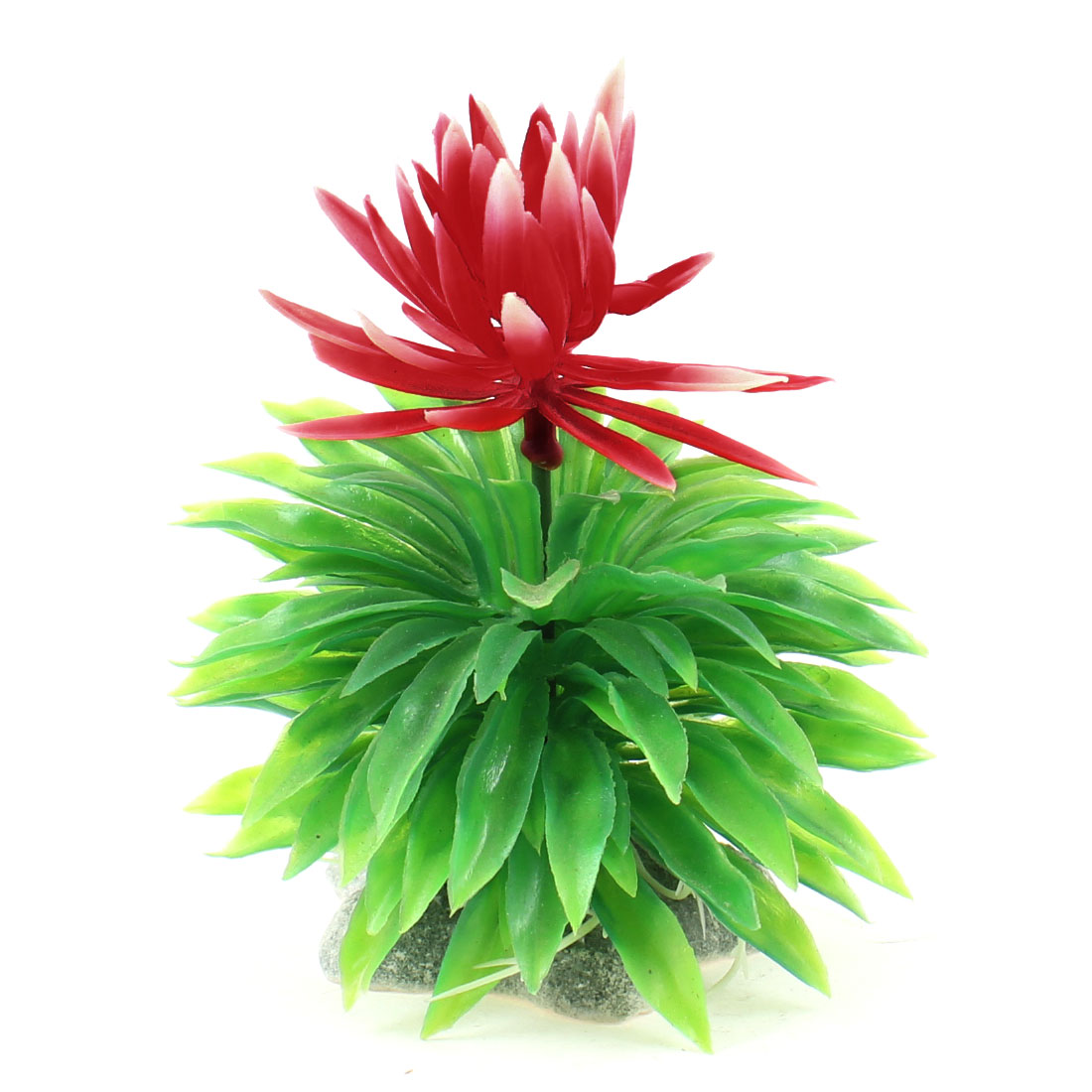 "4"" Height Fish Tank Ornament Red Flower Decor Ceramic Base Manmade Aquatic Plant"