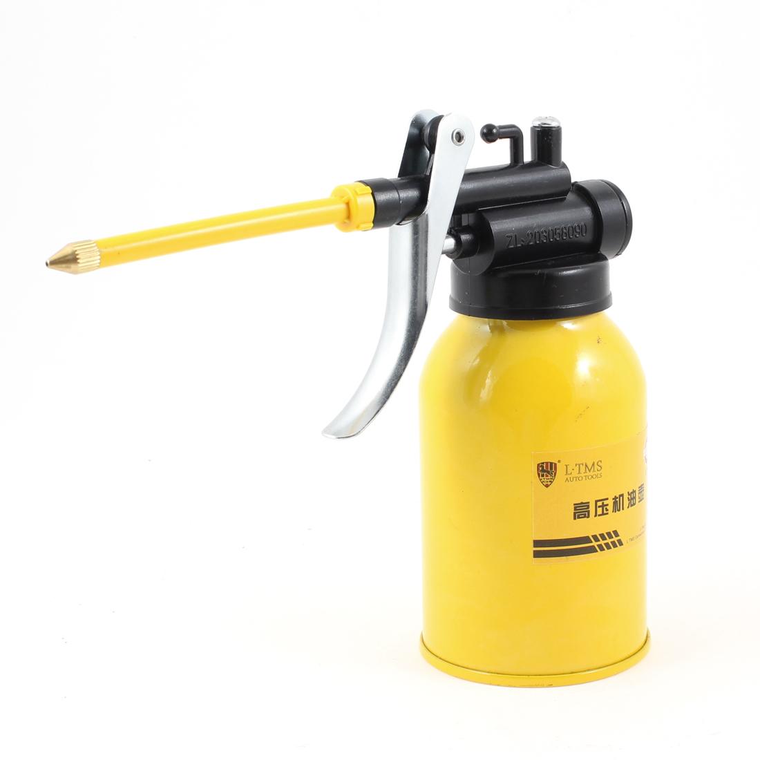 "3"" Length Nozzle 250ml Metal Bottle High Pressure Oil Spray Gun Yellow Black"