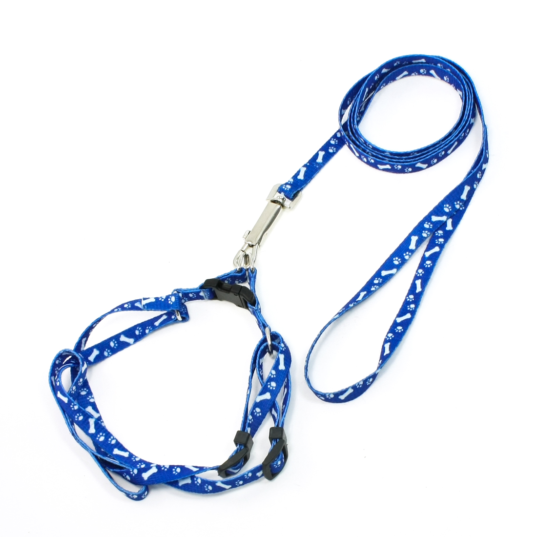 1.18M Lead Bone Print Doggie Dog Collar Halter Harness Leash Blue White