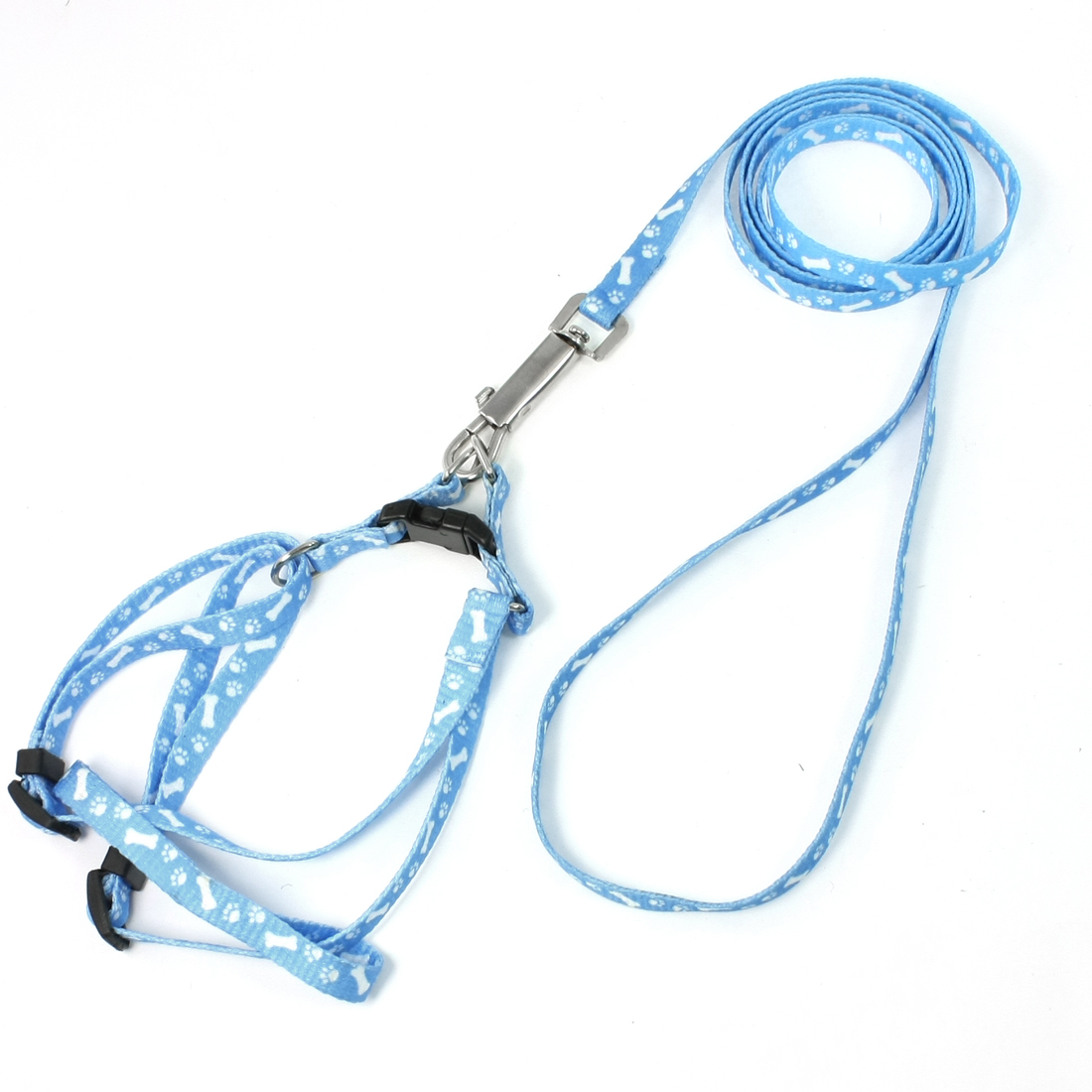 "Blue White Doggie Rope Adjustable Dog Harness Halter Leash Set 46.5"" Long"