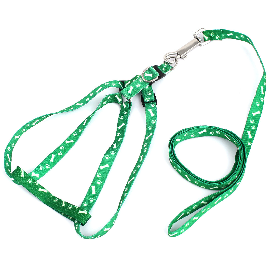 1.18M Lead Bone Print Doggie Dog Collar Halter Harness Leash Green White
