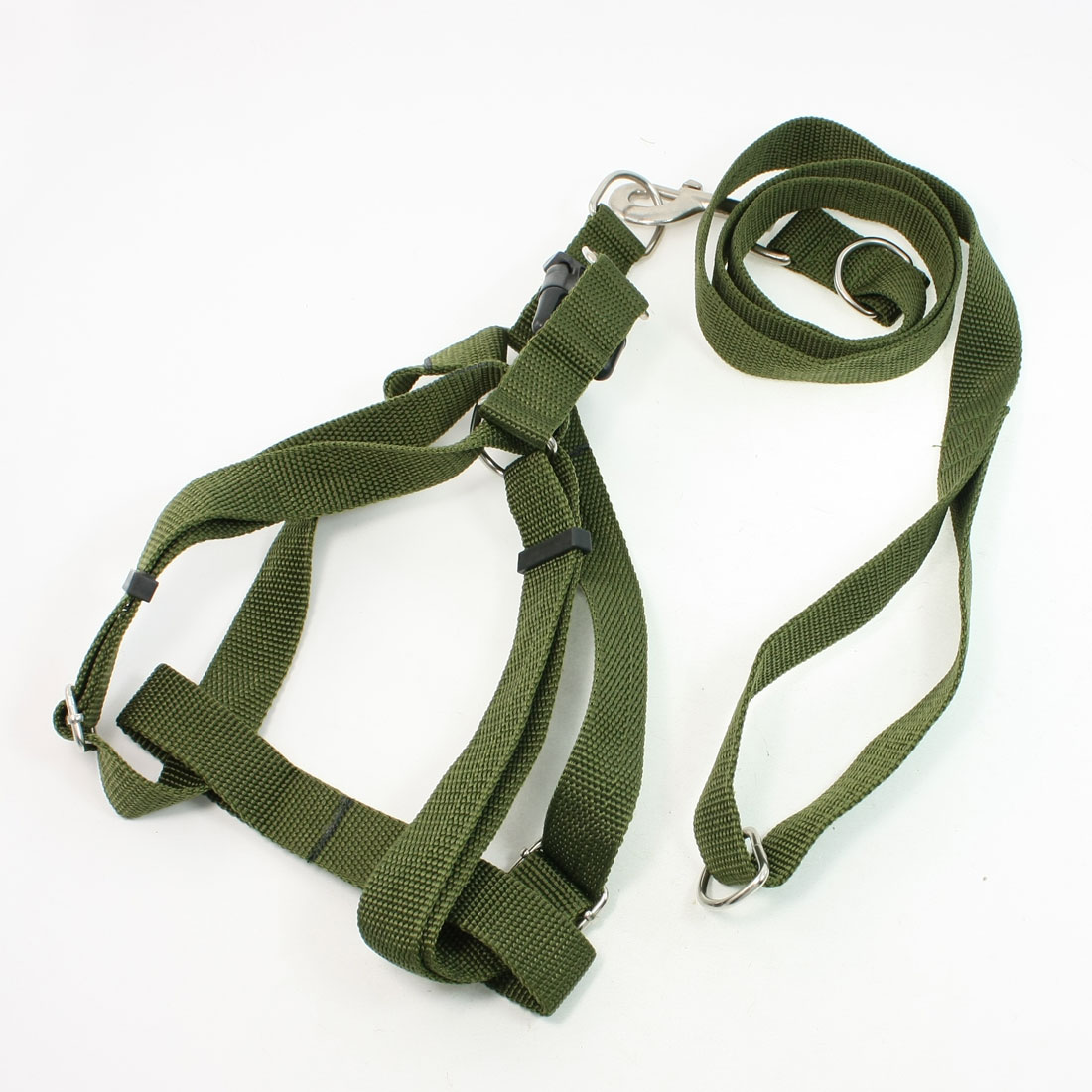 Army Green Rope Puppy Pet Dog Side Release Buckle Harness Leash Collar 1.1M