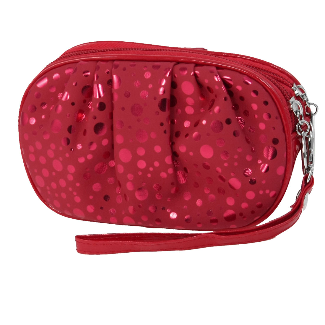 Ladies Dots Print Rectangle Shaped Zipper Zip Up Wallet Purse Red