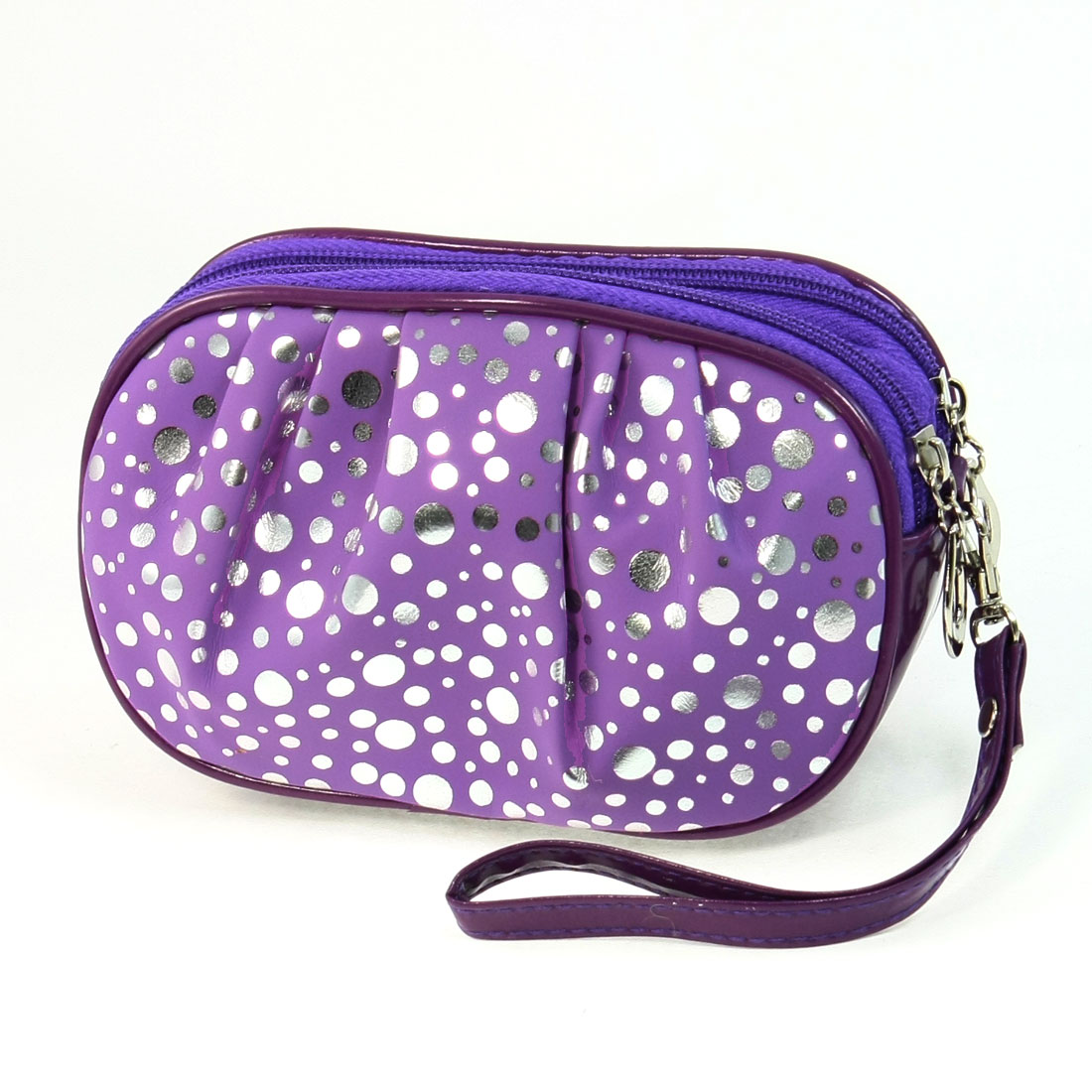 Ladies Dots Print Rectangle Shaped Zipper Zip Up Wallet Purse Purple