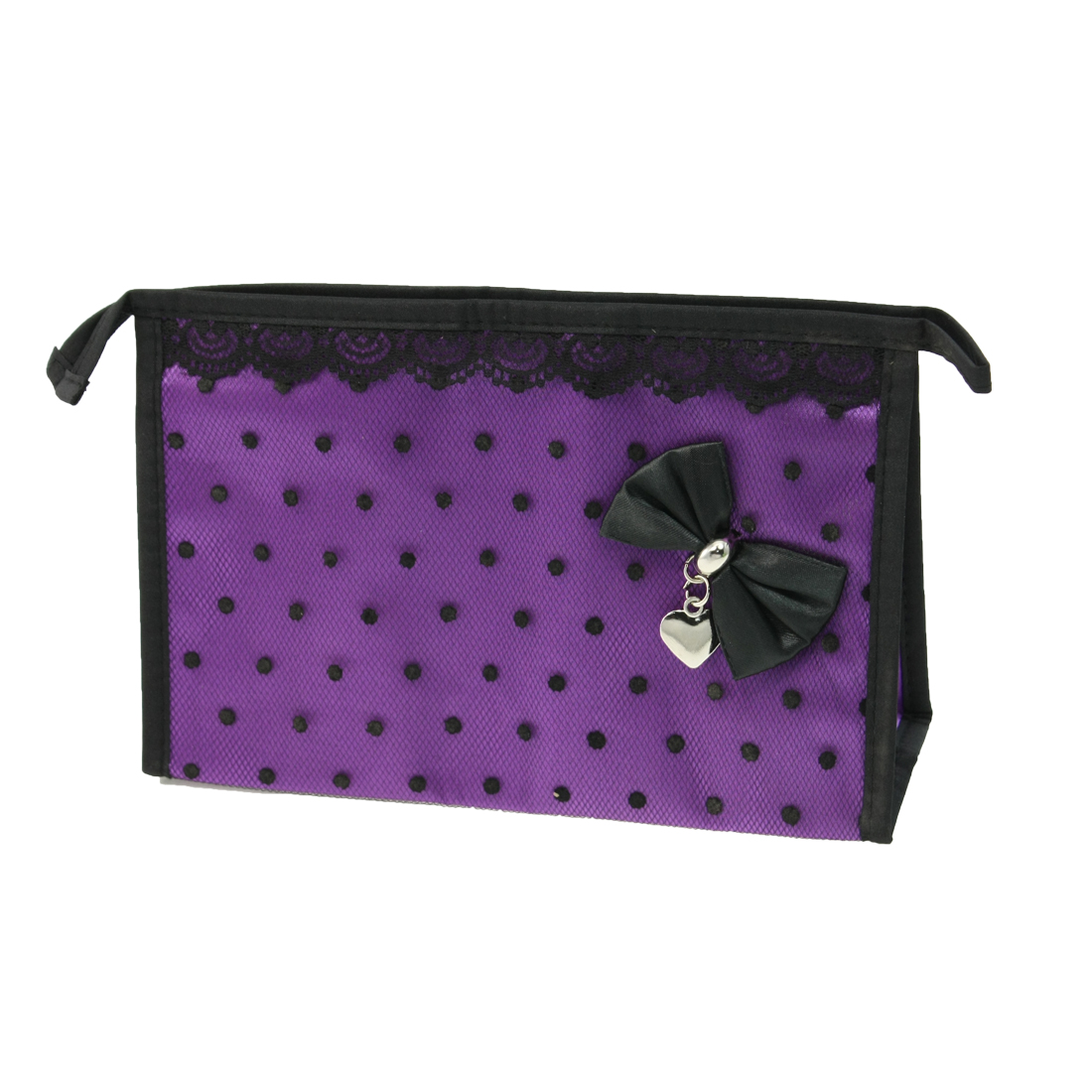 Zippered Black Lace Dot Meshy Make up Cosmetic Bag Case Holder Purple for Lady