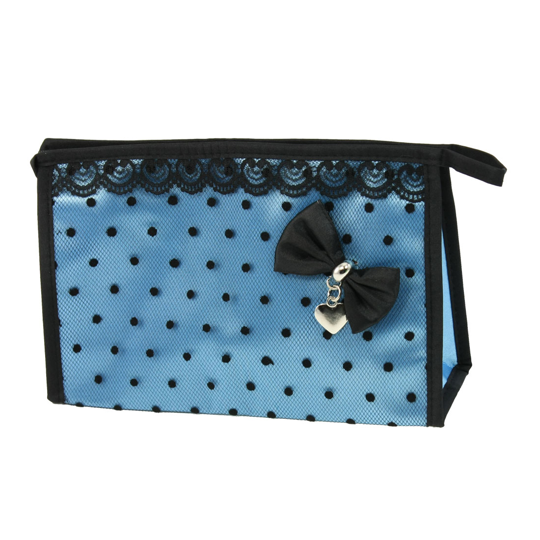 Zip up Closure Black Dots Mesh Lace Makeup Cosmetic Organizer Hand Bag Blue