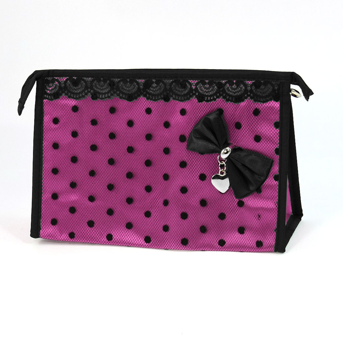 Lady Bowknot Accent Zip up Pocket Makeup Cosmetic Bag Holder Pouch Fuchsia Black