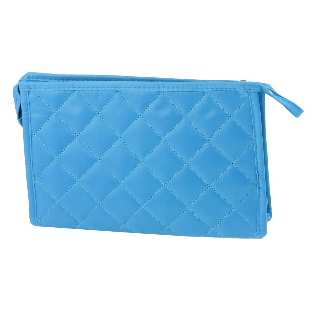 Lady Blue Rhombus Printed Rectangle Shaped Perfume Brushes Pouch Makeup Bag