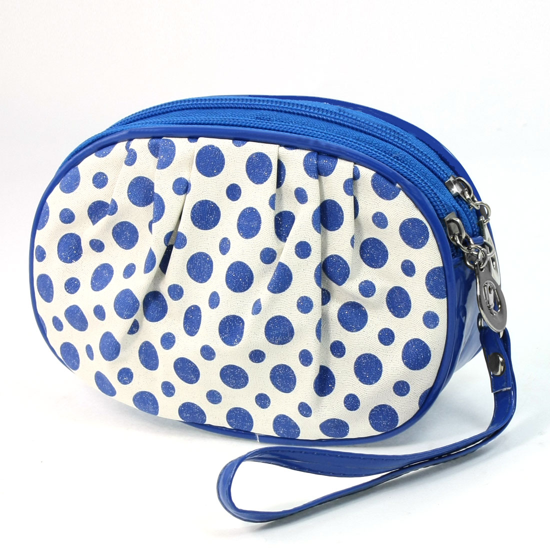 Women Dots Pattern Zip Closure 2 Compartments Blue White Faux Leather Purse