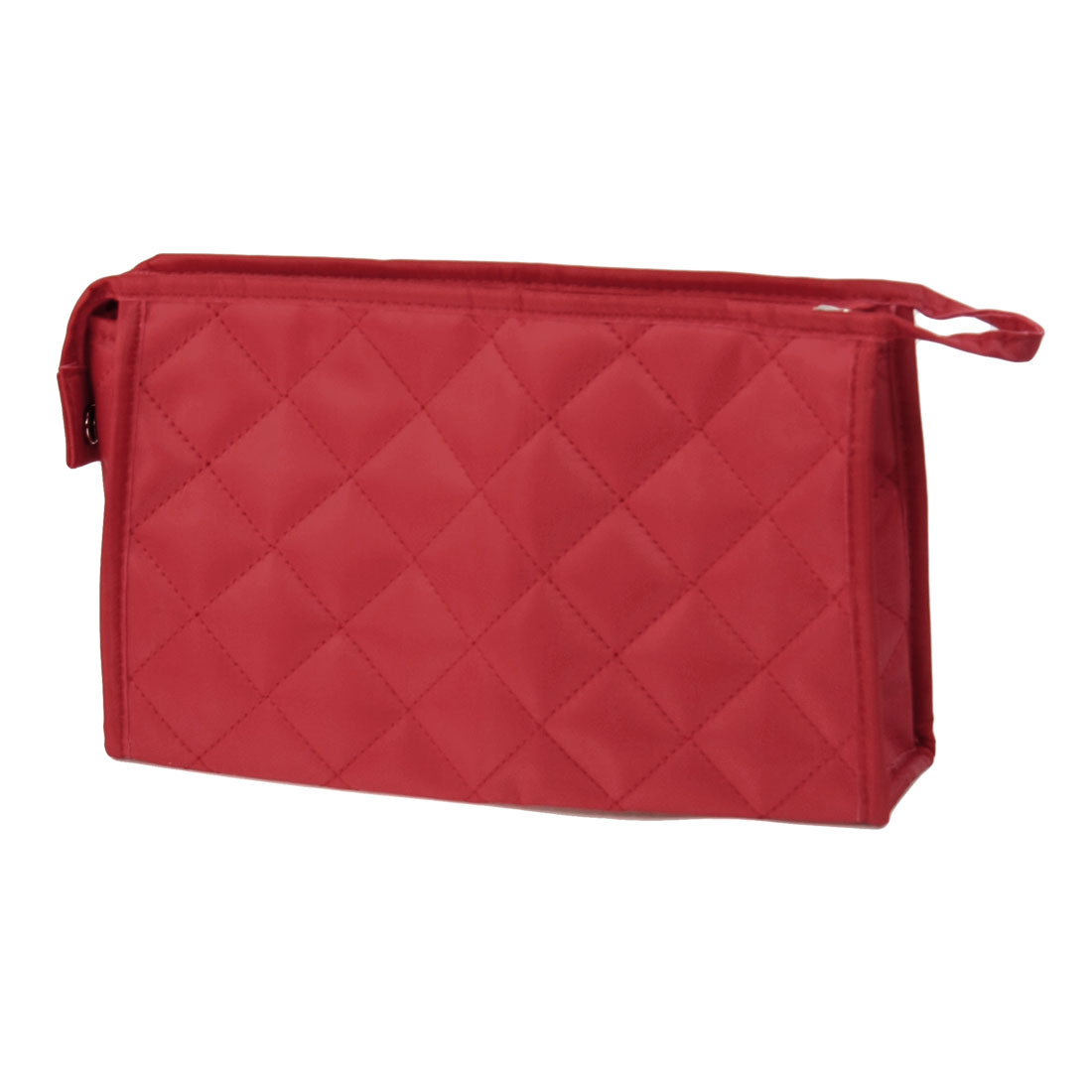 Lady Red Rhombus Pattern Zipper Cosmetic Lipstick Holder Pouch Bag w Mirror