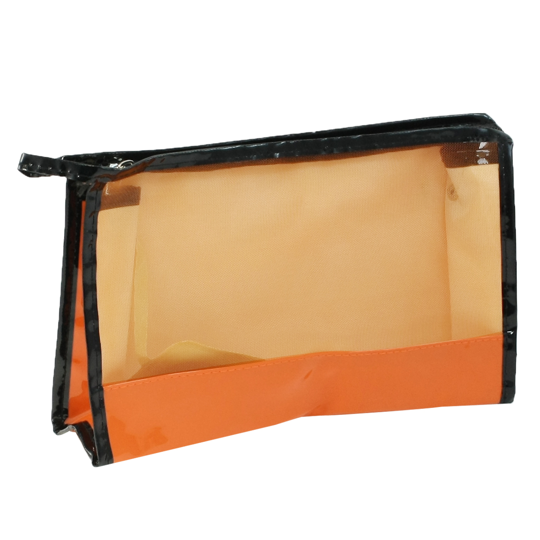 PU Plastic Zipper Closure Makeup Cosmetic Bag Orange Black for Ladies Girls