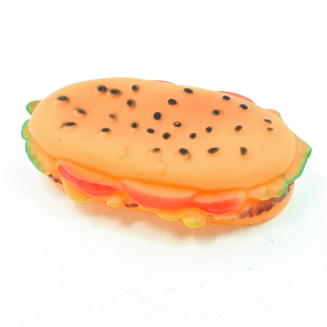 Salmon Pink Vinyl Rubber Hamburger Shape Squeaky Toy for Pet Dog