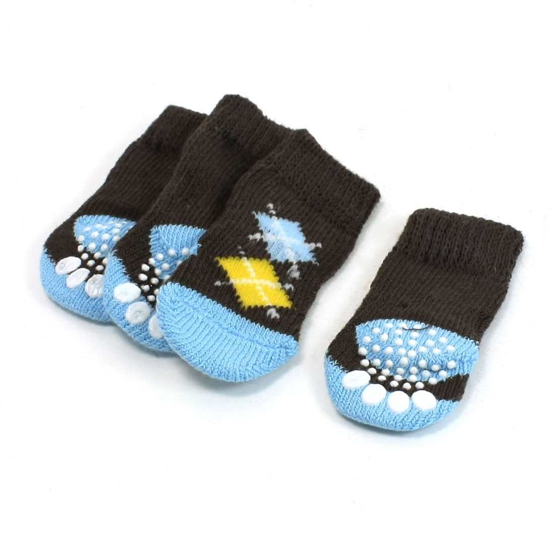 2 Pairs Paw Print Elastic Knitted Pet Dog Yorkie Socks Coffee Color Size M