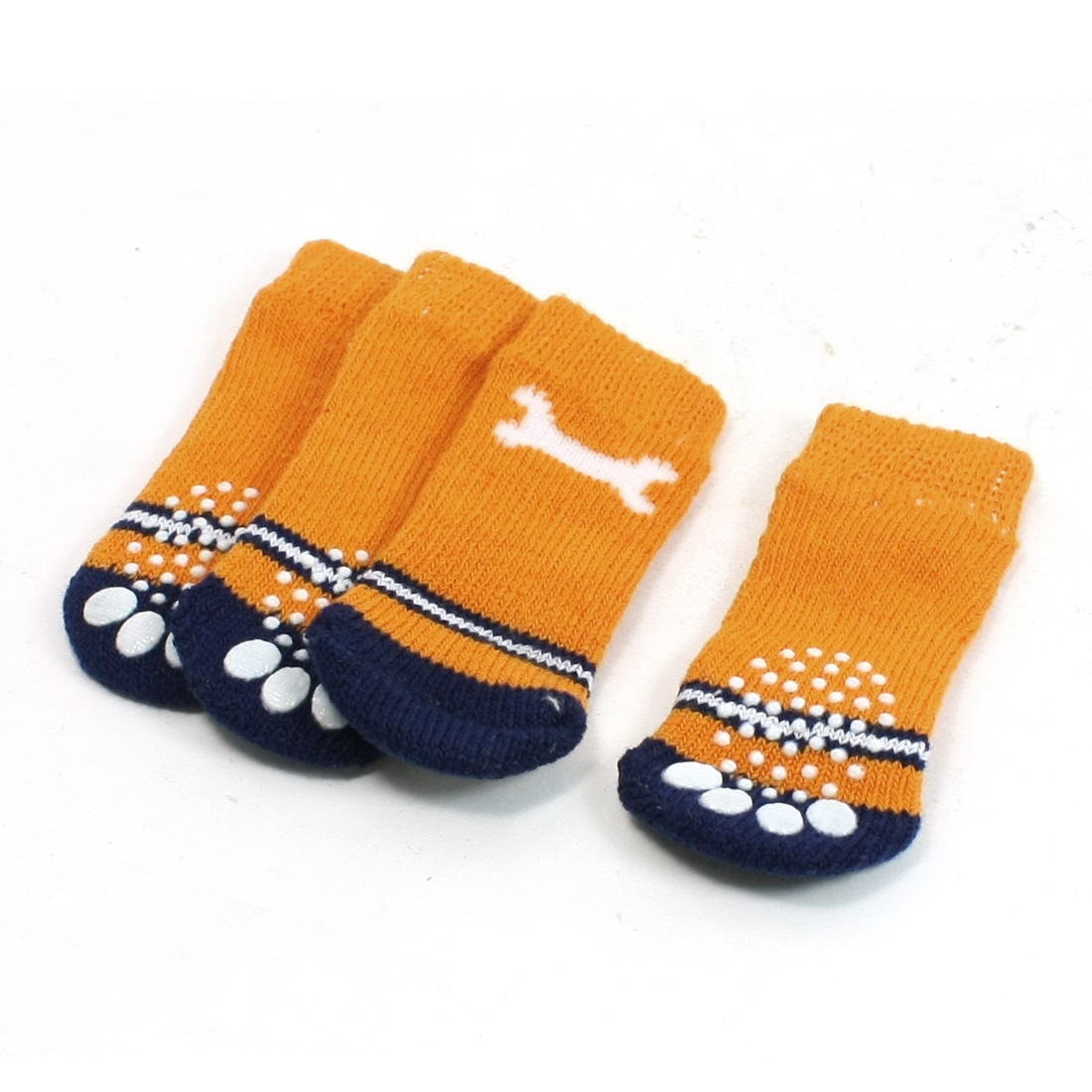 2 Pairs Bone Paw Print Elastic Knitted Pet Dog Yorkie Socks Orange Size M