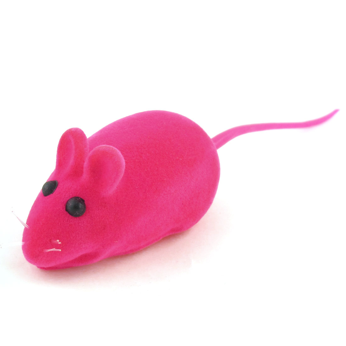Fuchsia Black Eyes Mouse Shape Squeaky Chew Toy for Pet Dog